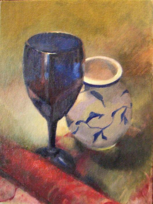 Goblet with Vase. Oil 9` x 12`