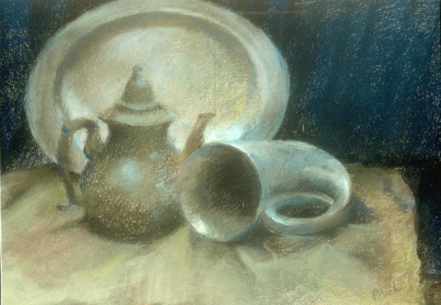 Still Life with Old Silver. Pastel 15` x 12`