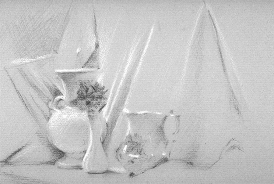Still Life with White. Charcoal Pencil 12` x 9`
