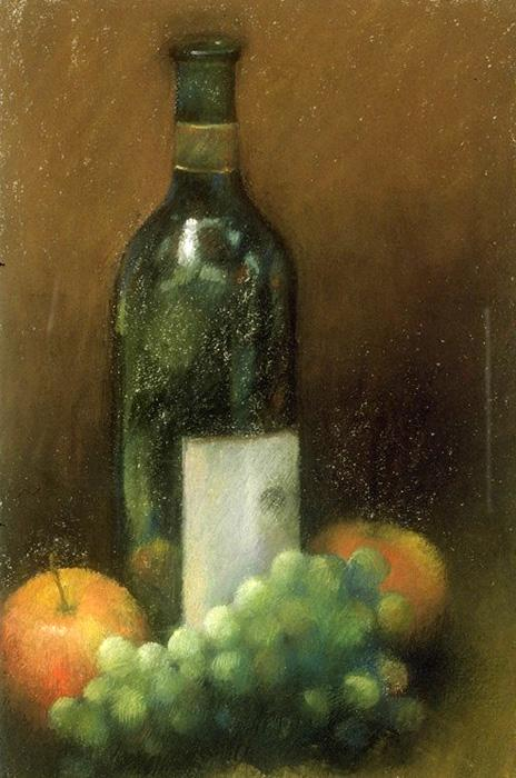 Wine Bottle. Pastel 12` x 16`