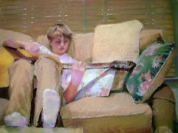 Noah with Guitar by Paula Gach Moskowitz