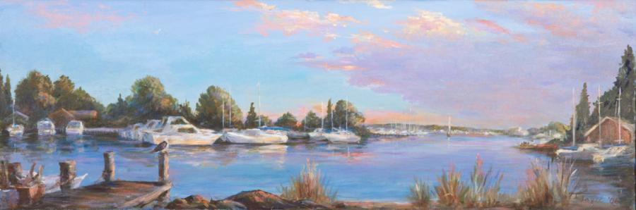 Greenport Harbor. Greenport Harbor / 2002 / Acrylic on Canvas / 16 x 48 inches / $2500