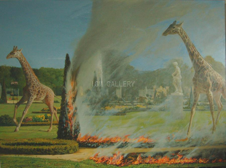Giraffes, 2008. <h3><span style=`font-family: times new roman,times;`><span style=`font-size: small;`><span style=`line-height: 115%;`>Oil on canvas, 55,1`</span><span style=`line-height: 115%;` lang=`RU`>х</span><span style=`line-height: 115%;`>&nbsp;40,9` (104x140 cm)</span></span></span></h3>