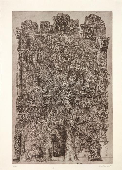 Cathedral with a Bat, 1972. <h3><span style=`font-family: times new roman,times;`><span style=`font-size: small;`>Etching on paper, 34,9`x27.2`</span></span></h3>