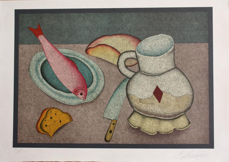 Still Life with Fish and Bread. <h3><span style=`font-family: times new roman,times;`><span style=`font-size: small;`>lithograph, 18,5`x22,5`</span></span></h3>
