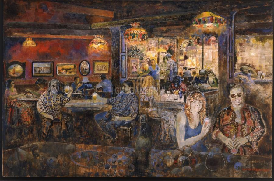 American Restaurant in Saratoga. Spring. 2003. <h3><span style=`font-family: times new roman,times; font-size: small;`>Canvas, oil&nbsp;31,5` x 47,4`&nbsp;(80 x 120,5 cm)</span></h3>