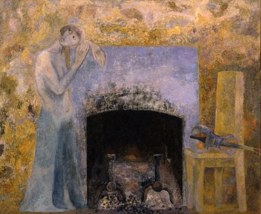 The Girl by the Fireplace. 1977. <h3><span style=`font-family: times new roman,times; font-size: small;`>Canvas,oil, 50`x64`&nbsp;(127 x 162,5 cm)</span></h3>