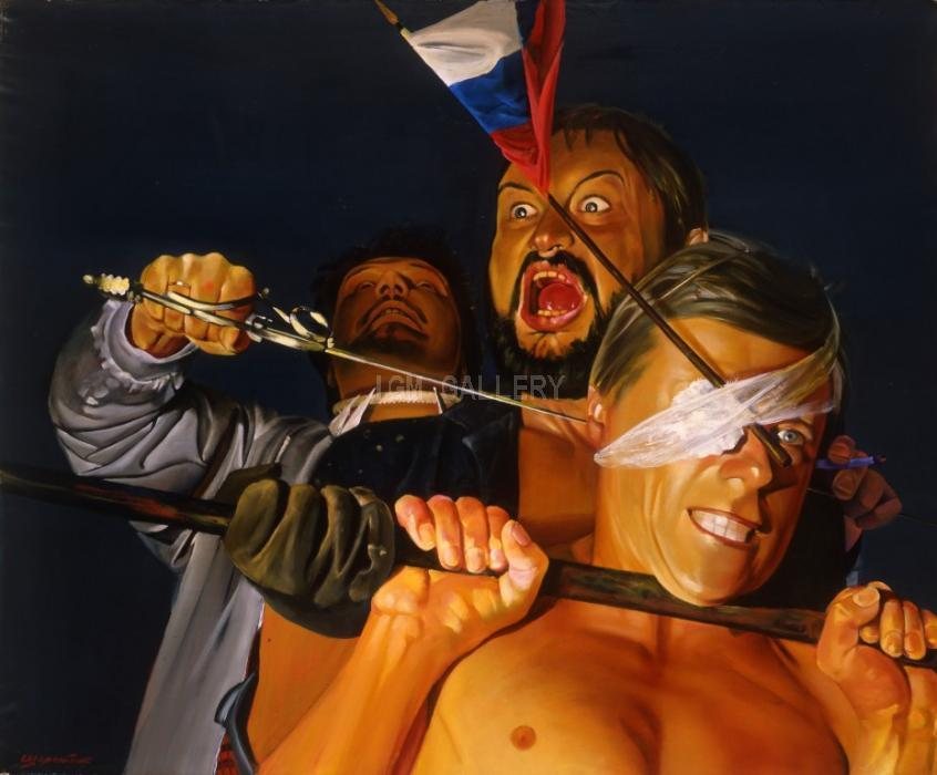Gala Portrait of Close Combat, 1991. <h3><span style=`font-family: times new roman,times; font-size: small;`>Canvas, acrylic&nbsp;&nbsp;59,1` x 70,9` (150 x 180 cm)</span></h3>