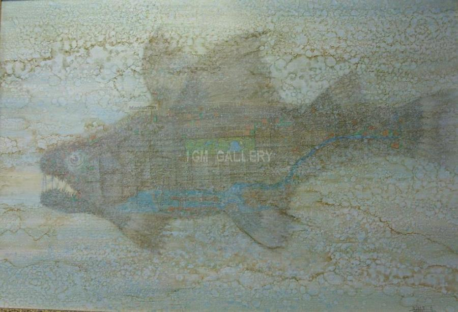Manhattan Fish, 2003. <h3><span style=`font-family: times new roman,times;`><span style=`font-size: small;`>Acrylic, oil, collage on canvas, 100 х 146 см</span></span></h3>