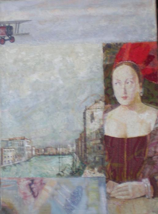 Series Renascence, 2003. <h3><span class=`field-content`><span style=`font-size: small;`><span style=`font-family: times new roman,times;`>Canvas, oil, collage, 38`x28`</span></span></span></h3>