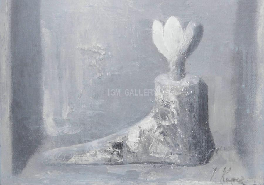 The form with a flower II, 2008. <h3><span style=`font-family: times new roman,times;`><span style=`font-size: small;`>Mixed media on canvas, acrylic, 15,7`x15,7`( 40 x 40 cm)</span></span></h3>