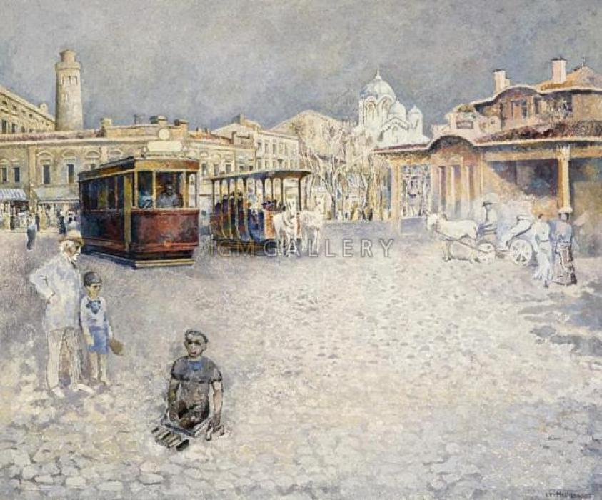 Street Scene in Old Odessa, 2003. <h3><span style=`font-family: times new roman,times;`><span style=`font-size: small;`>Canvas,oil, 60`x50`</span></span></h3>