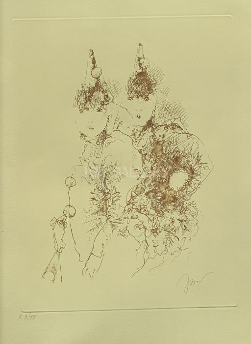 Clownesses, 2013. <h3><span style=`font-family: times new roman,times; font-size: small;`>Etching on Paper&nbsp; 23,8`x 17,9`(60,5 x 45,5 cm)</span></h3>
