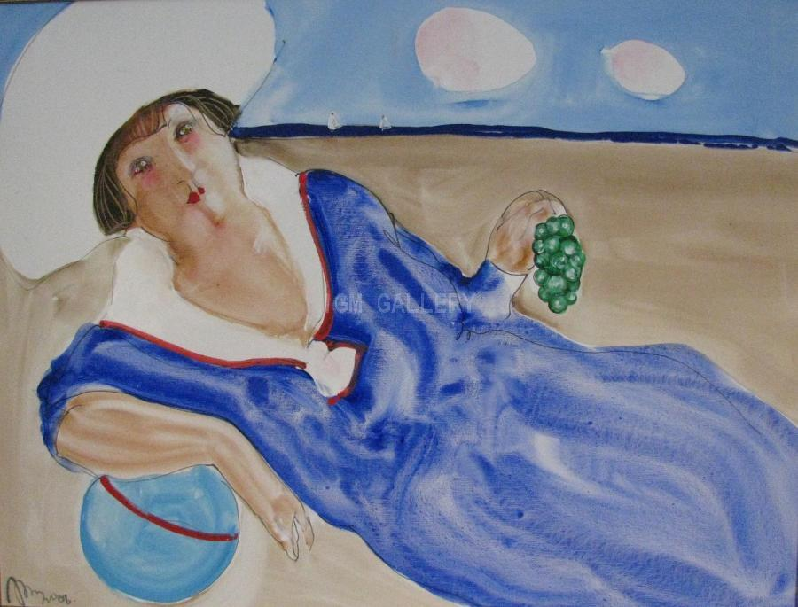 IL Mondo (Woman on sand), 2006. <h3 class=`MsoNormal` style=`margin: 0in 0in 10pt;`><span style=`mso-ansi-language: EN-US;` lang=`EN-US`><span style=`font-family: times new roman,times;`><span style=`font-size: small;`>Canvas, acrylic, oil, 27,6&ldquo; x 35,4&ldquo;(70x90 cm)</span></span></span></h3>