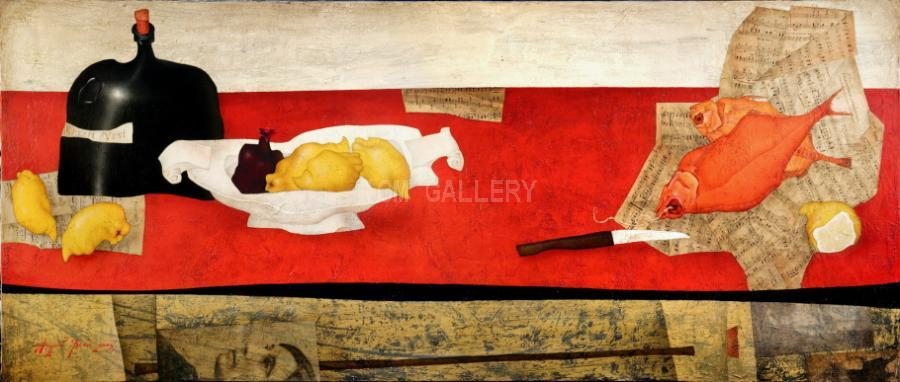Minuet on a Red Table,2005. <h3><span class=`example1` style=`font-family: `times new roman`, times; font-size: small;`>Oil on Canvas 29,9`x75,6` (76x192 cm)</span></h3>