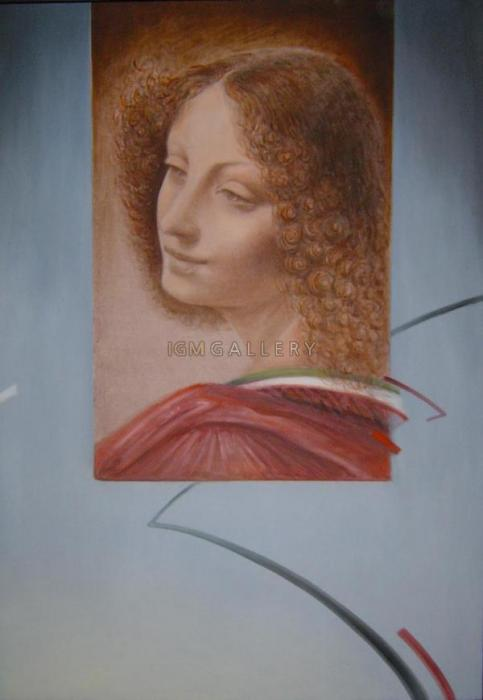 HOMMAGGIO A LEONARDO 1, 2005. <h3><span style=`font-family: times new roman,times;`><span style=`font-size: small;`>Canvas,oil, 39,4`x27,6`</span></span></h3>
