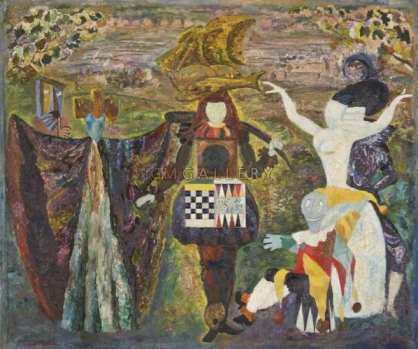 Tapestry, 1972. <h3><span style=`font-family: times new roman,times;`><span style=`font-size: small;`>Canvas, oil, 54.6 x 64.8 cm (21.5 `x 25.5`) </span></span></h3>