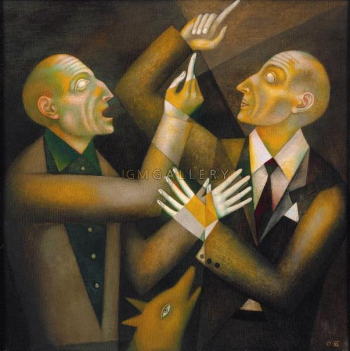 Blind Men, 1990. <h3><span class=`example2` style=`font-family: `times new roman`, times; font-size: small; color: #ffffff;`>Canvas, oil, 31,5`x31,5`( 80 х 80см)</span></h3>