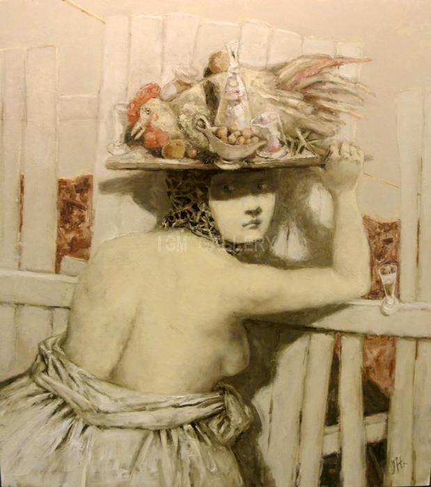 The Woman carrying a Cock, 2010. <h3><span style=`font-family: times new roman,times;`><span style=`font-size: small;`>Oil on canvas, 110х100 см</span></span></h3>