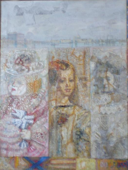 Untitle, 2003. <h3><span class=`field-content`><span style=`font-size: small;`><span style=`font-family: times new roman,times;`>Canvas, oil, collage, 37`x28`</span></span></span></h3>