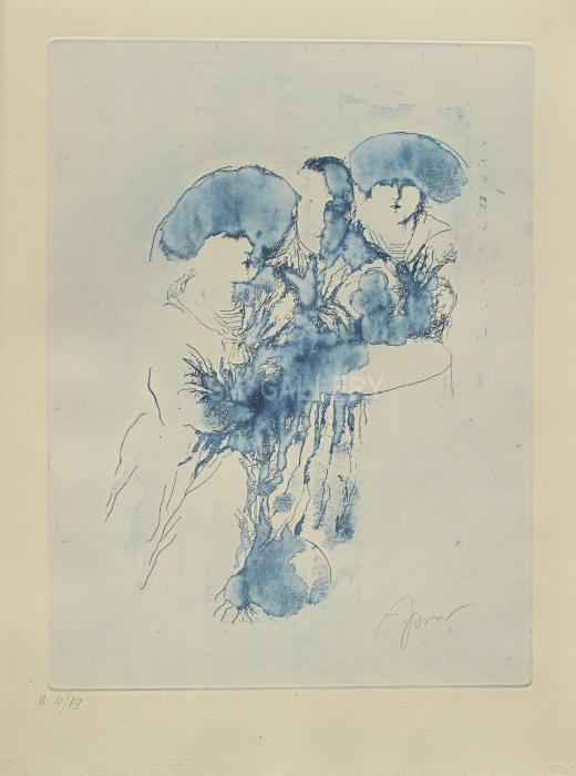 At the Caf&#233; (Blue), 2013. <h3><span style=`font-family: times new roman,times; font-size: small;`>Etching on Paper 23,6`x 17,7`(60 x 45 cm)</span></h3>