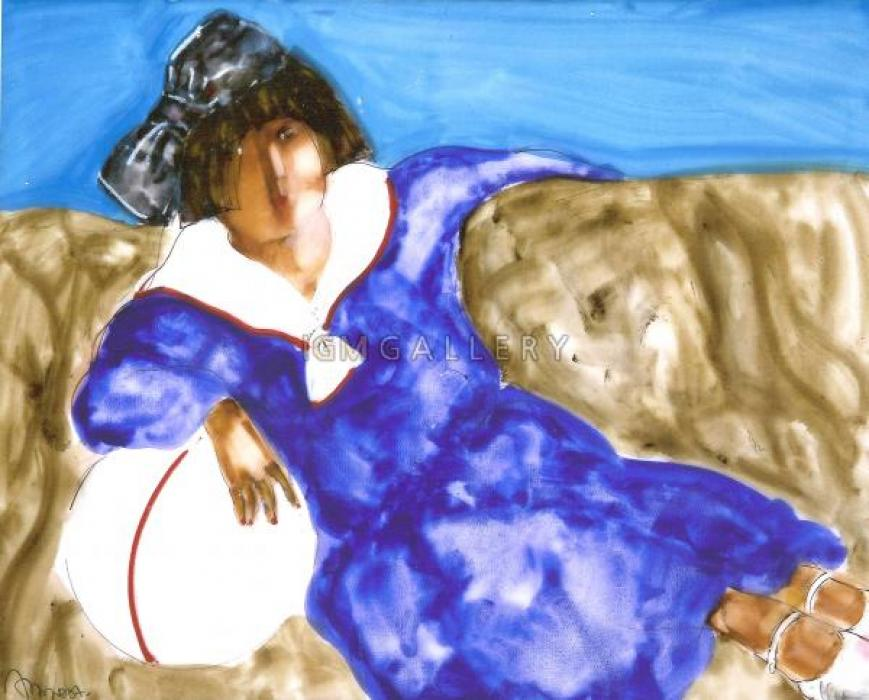 Girl on sofa II, 2007. <h3><span class=`field-content`><span style=`font-family: times new roman,times;`><span style=`font-size: small;`>Canvas, acrylic,oil, 31,5`x39,4`</span></span></span></h3>