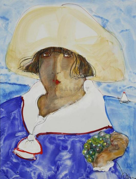 Lady with grape, 2007. <h3><span class=`field-content`><span style=`font-family: times new roman,times;`><span style=`font-size: small;`>Canvas, acrylic,oil, 31,5`x23,6`(80x60 cm)</span></span></span></h3>