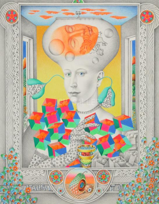 Woman in Gloves or Vitalizm, 2007. <h3><span class=`example1` style=`font-family: times new roman,times; font-size: small;`>4-layer cardboard, color pencil 40,2`x 34,6` (102x88 cm)</span></h3>