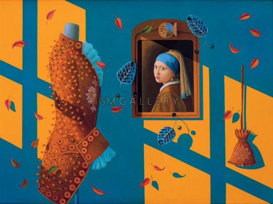 Homage to Vermeer, 2001. <h3><span style=`font-family: times new roman,times;`><span style=`font-size: small;`>Canvas, Oil, 29,9`x39,8`</span></span></h3>
