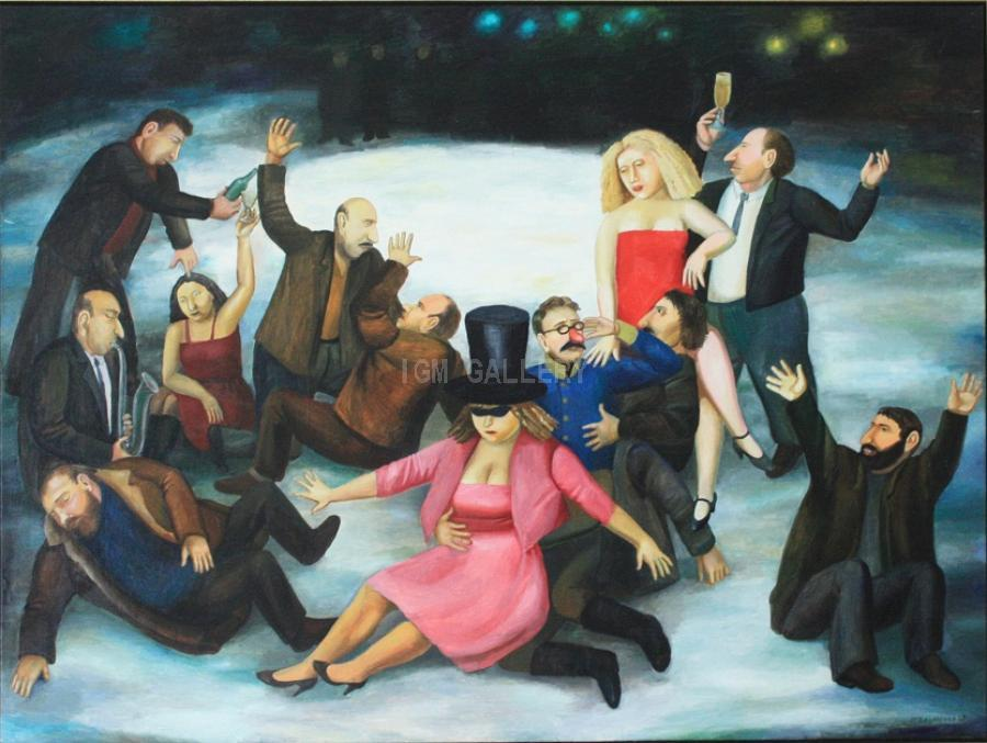 Drinking on the Ice, 1989. <h3><span style=`font-family: times new roman,times; font-size: small;`>Oil on canvas, 53,1`x70,9` (135 x 180 cm)</span></h3>