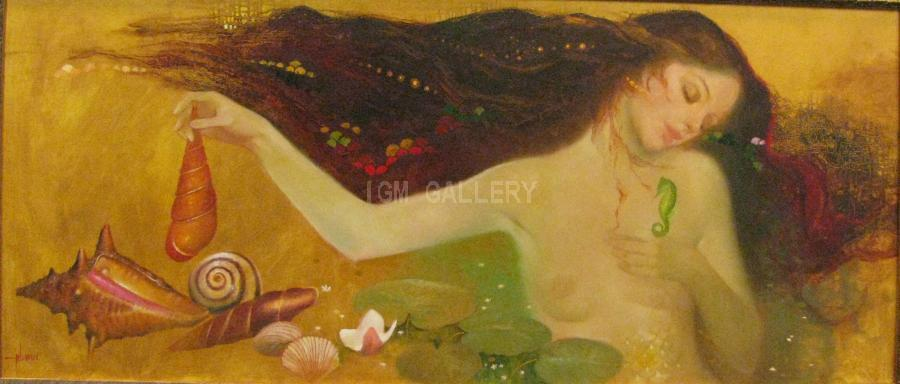 Mermaid Dream. <h3><span style=`font-family: times new roman,times;`><span style=`font-size: small;`>Oil on canvas, 116x50 cm</span></span></h3>