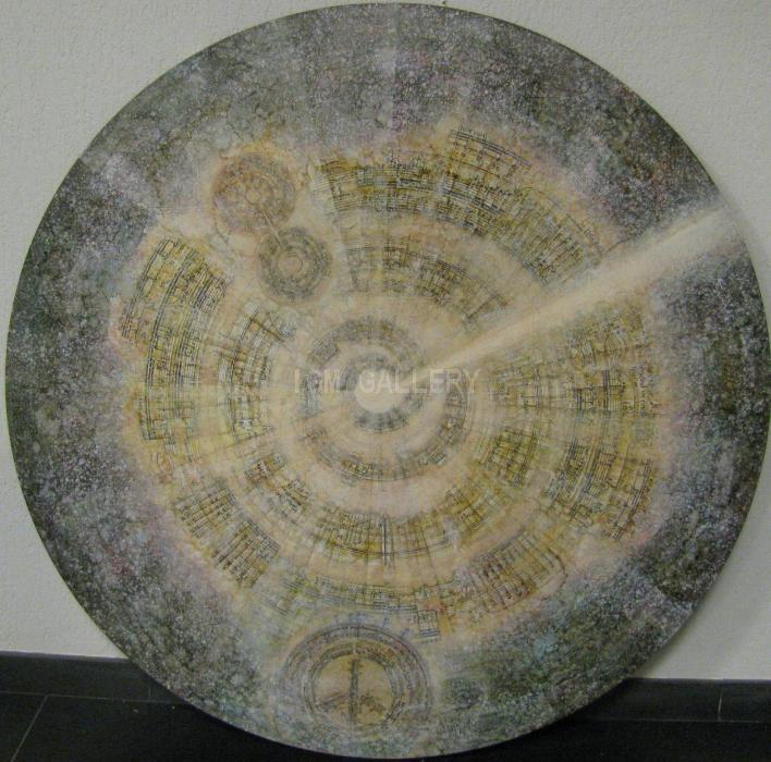 Cosmogony, 2003. <h3><span style=`font-family: times new roman,times;`><span style=`font-size: small;`>Canvas, acrylic, oil, collage, Diam. 107</span></span></h3>
