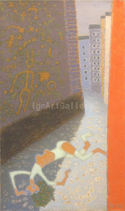 &quot; Street &quot;, 2000. <h3><span class=`example1` style=`font-family: `times new roman`, times; font-size: small;`>Oil on canvas, 39.4`x 23.6` (100 cm x 60 cm)</span></h3>