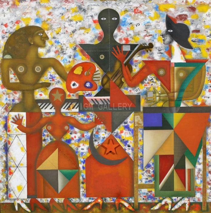 The Dolls, 2000. <h3><span style=`font-family: times new roman,times; font-size: small;`>Canvas, oil 55,1` x 55,1` (140 x&nbsp;140 cm)</span></h3>
