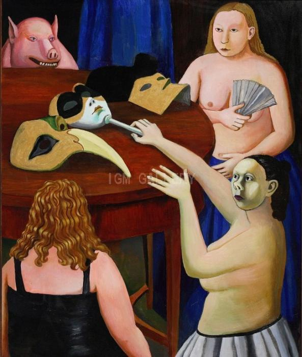 Table with Masks, 2006. <h3><span style=`font-family: times new roman,times; font-size: small;`>Canvas,Oil 47,2`x 39,4` (120x&nbsp;100 cm)</span></h3>