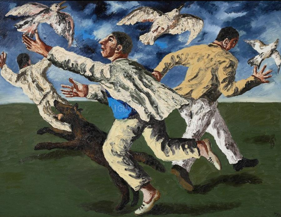 Fowling, 1997. <h3><span style=`font-family: times new roman,times; font-size: small;`>Canvas,oil&nbsp; 39,4` x 51,2` ( 100 x 130 cm)</span></h3>