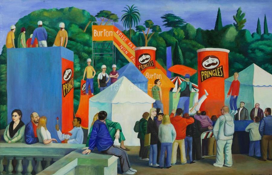 Holiday in Rome, 2001. <h3><span style=`font-family: times new roman,times; font-size: small;`>Canvas,Oil 37,4`x 57,1` (95 x&nbsp;145 cm)</span></h3>