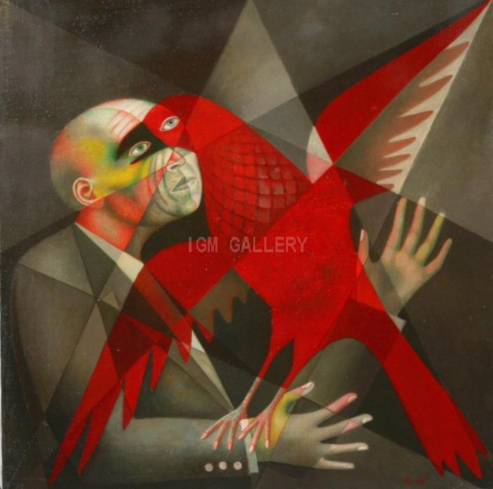 Man and Bird, 1990. <h3><span style=`font-family: times new roman,times; font-size: small;`>Canvas, oil, 31,5`x 31,5` (80 x 80 cm)</span></h3>