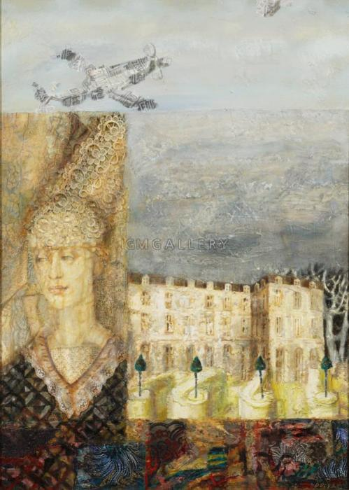 Female Motif (Gothic), 2003-2004. <h3><span class=`field-content`><span style=`font-size: small;`><span style=`font-family: times new roman,times;`>Canvas, oil, collage, 35`x25`</span></span></span></h3>