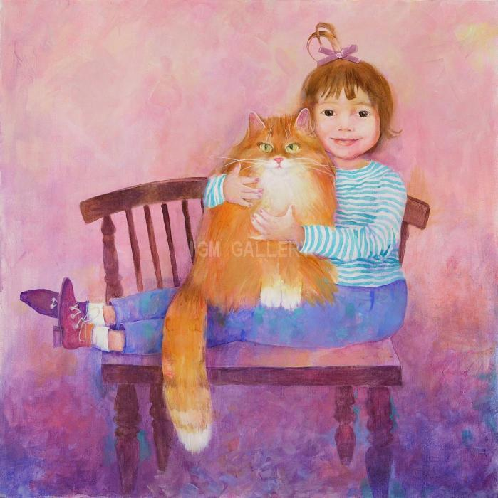 Girl with a Cat, 2007. <h3><span style=`font-family: ` lang=`EN-US`><span style=`font-size: small;`><span style=`font-family: times new roman,times;`>Canvas, acrylic, 70 x 70 cm. </span></span></span></h3>