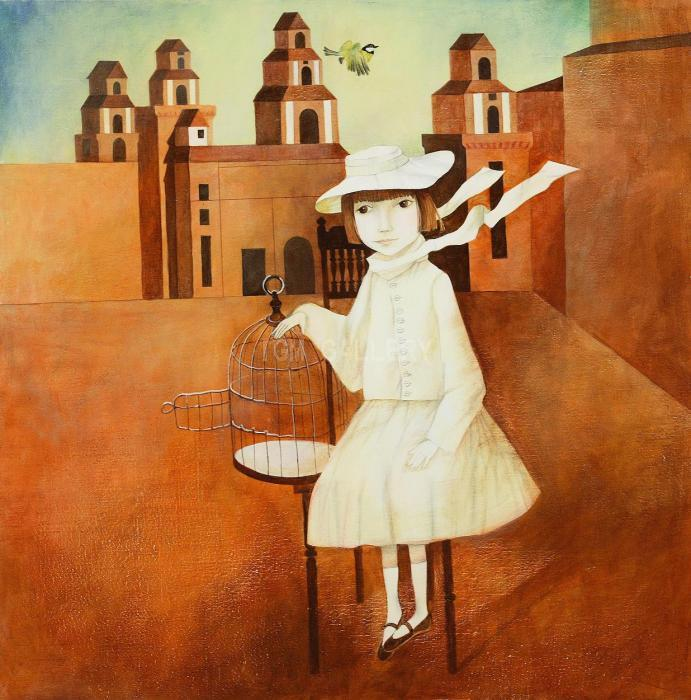 Girl with a Cage, 2007. <h3><span style=`font-family: ` lang=`EN-US`><span style=`font-size: small;`><span style=`font-family: times new roman,times;`>Canvas, acrylic, 70 x 70 cm. </span></span></span></h3>
