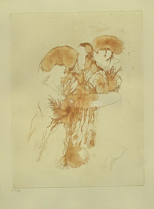 At the Caf&#233; (Brown), 2013. <h3><span style=`font-family: times new roman,times; font-size: small;`>Etching on Paper with Artist Remark 23,6`x 17,7`(60 x 45 cm)</span></h3>