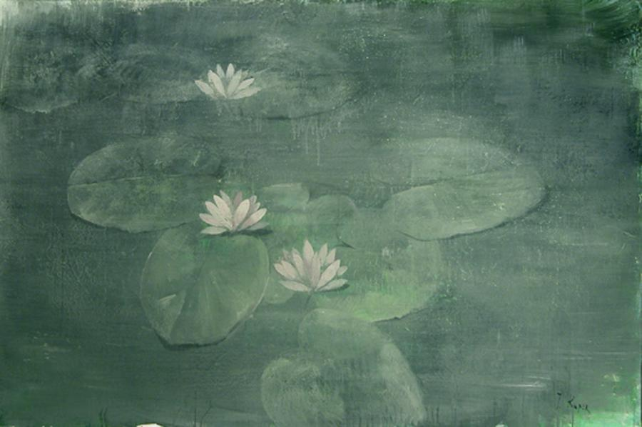 Lilly Pads, 2007. <h3><span style=`font-family: times new roman,times;`><span style=`font-size: small;`>Canvas, acrilic, mixed media, 51,6`x77`(<span style=`font-family: &quot;Times New Roman&quot;,&quot;serif&quot;; font-size: 12pt; mso-fareast-font-family: `Times New Roman`; mso-fareast-language: RU; mso-ansi-language: EN-US; mso-bidi-language: AR-SA;` lang=`EN-US`>131 x 195,5 cm)</span></span></span></h3>
