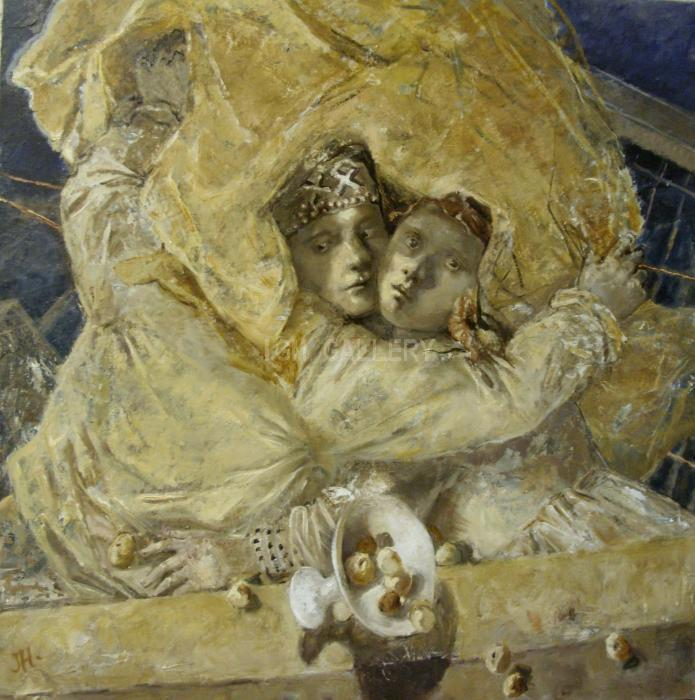 Lovers under the Golden Rain, 2009. <h3><span style=`font-family: times new roman,times; font-size: medium;`>Oil on canvas, 43,3`x43,3`(110 x 110 cm)</span></h3>