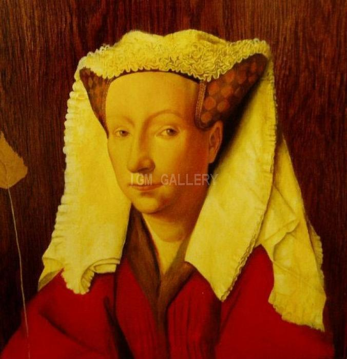 &quot;Lady&quot;(from Jan van Eyck), 2003. <h3><span style=`font-family: times new roman,times;`><span style=`font-size: small;`>Wood, acrylic, 48.5 x 42 cm</span></span></h3>