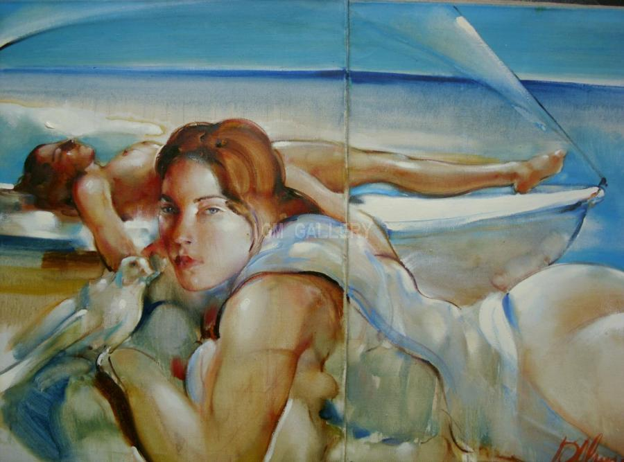 On the Beach, 2003. <h3><span style=`font-family: times new roman,times;`><span style=`font-size: small;`>Oil on canvas, 35,4` x 55,1` (90 х 140 cm)</span></span></h3>