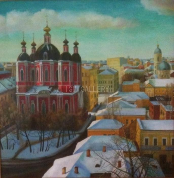 The First Snow in Zamoskvorechye, 1988. <h3><span style=`font-family: times new roman,times; font-size: small;`>Oil on canvas, 44.9`x44,9` (114x114 cm)</span></h3>