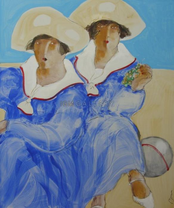 Two ladies in sailor's jacket with ball, 2006. <h3><span class=`field-content`><span style=`font-family: times new roman,times;`><span style=`font-size: small;`>Canvas, acrylic, oil, 47,2`x39,4`</span></span></span></h3>
