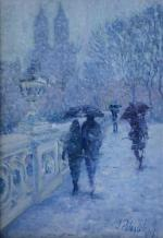 Central Park, Bow Bridge In Winter