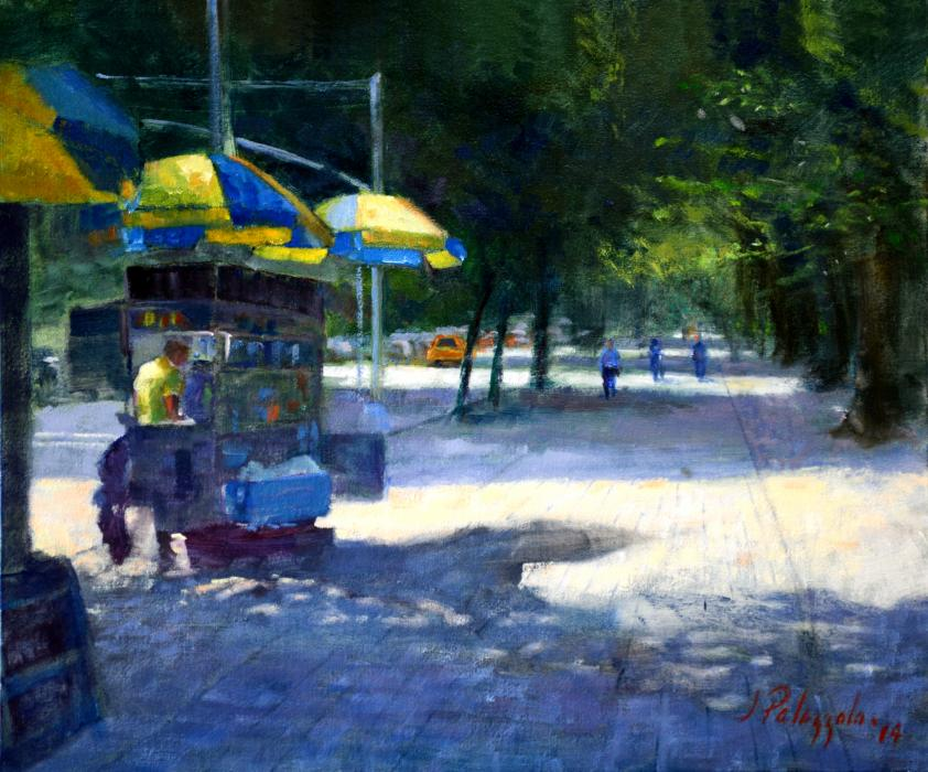 76th & Fifth, New York City. It was early morning in July, street vendors were already in place hoping for a busy day at the entrance to Central Park at 76th Street and Fifth Avenue in New York City. The early morning sun streams across the Avenue giving the pavement a warm glow, with cool shadows. Such inspiration!